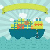 stock photo of shipbuilding  - Cute cargo ship carrying parcels and goods - JPG