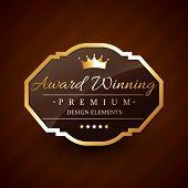 foto of award-winning  - golden award winning premium beautiful vector label design - JPG