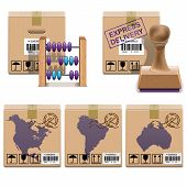 stock photo of continent  - Shipment Icons Set including carton boxes with barcode - JPG