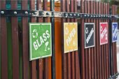 picture of recycle bin  - recycle bin place with signs like glass - JPG