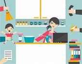 picture of homemaker  - Busy Multitask Woman - JPG