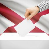 foto of alabama  - Ballot box with US state flag on background series  - JPG