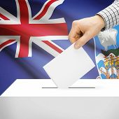 stock photo of falklands  - Ballot box with national flag on background series  - JPG