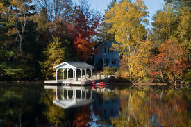 stock photo of dock a lake  - pretty cottage with dock and a variety of transportation - JPG
