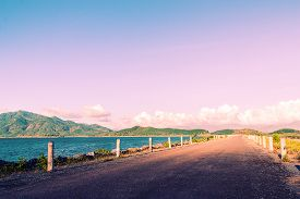 stock photo of long winding road  - Free way country road winding with nature - JPG