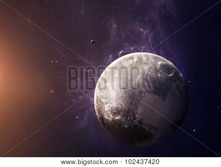 The Pluto with moons from