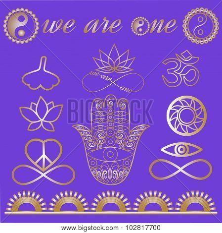 Mystic Spiritual Symbols Yoga Logo Yoga Icons Gold Lines Tattoo