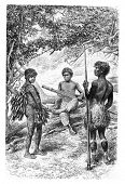 Постер, плакат: Witoto Indians of Amazonas Brazil drawing by Riou from a photograph vintage engraved illustration