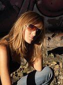 Girl Posing In Sun Glasses