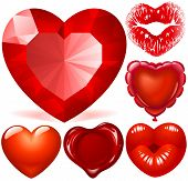 Vector set of Red Hearts
