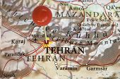 Tehran on a map