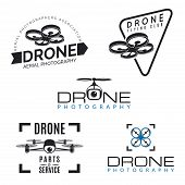Set of drone logos badges and design elements. poster