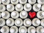 White Shuttlecocks And Red Heart