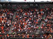 Giants Fans In The Upperdeck Stand And Cheer At A Sell Out Event