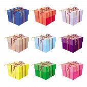 Set Of Nine Gift Boxes