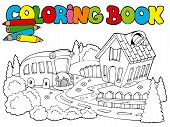 Coloring book with school and bus