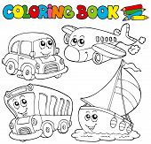 Coloring book with various vehicles
