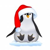 Christmas Penguin In Santa Hat