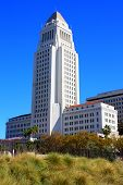 stock photo of city hall  - Los Angeles City Hall building completed in 1928 taken in Los Angeles - JPG