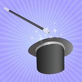magicians hat and stick vector