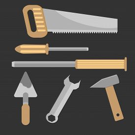 stock photo of chisel  - Set of hand tools - JPG