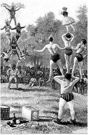 image of human pyramid  - Pyramid against pyramid - JPG