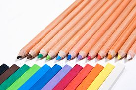 pic of pastel  - View of different color pencils and chalk pastels isolated on the white background - JPG