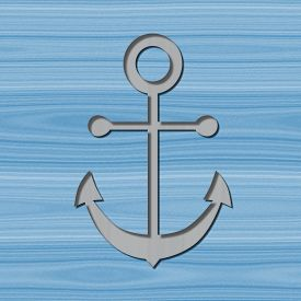 stock photo of motif  - Grey anchor motif with drop shadow on blue wooden background - JPG