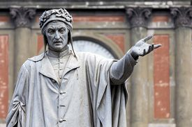 pic of alighieri  - Statue of the poet Dante Alighieri at the Piazza Dante in Naples Italy sculpted by Tito Angelini in the 19th century - JPG