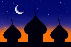 stock photo of ramazan mubarak  - Illustration of a mosque and the moon at the dusk - JPG