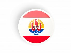picture of french polynesia  - Round sticker with flag of french polynesia isolated on white - JPG