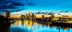 foto of frankfurt am main  - View of Frankfurt am Main skyline at sunset in Germany - JPG