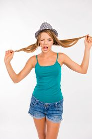 picture of fool  - funny girl fooling around with her hair - JPG