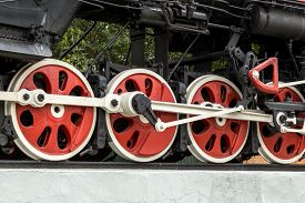 picture of train-wheel  - Detail of the wheels on a steam train - JPG