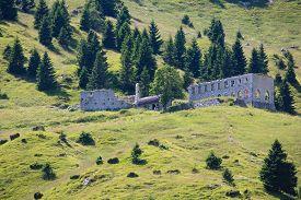 stock photo of italian alps  - View of an abandoned first world war barrack Italian alps - JPG
