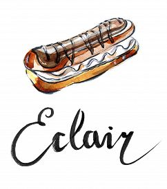 pic of eclairs  - Watercolor eclair with chocolate - JPG