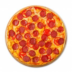 pic of crust  - Delicious pizza with tomatoes and pepperoni  - JPG