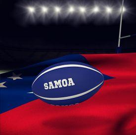 image of samoa  - Samoa rugby ball against rugby stadium - JPG