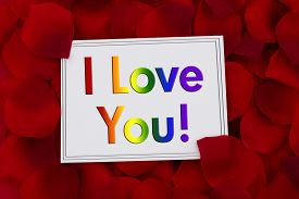 pic of pedal  - I Love You Card A white card with text I Love You in LGBT pride colors and a red rose pedal backgrounds - JPG