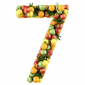 picture of number 7  - Number seven made from 3d fruits - JPG