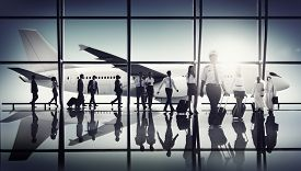 stock photo of cabin crew  - Airport Pilot Cabin Crew Professional Occupation Concept - JPG