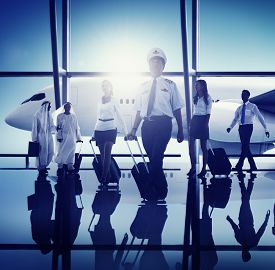 picture of cabin crew  - Airport Pilot Cabin Crew Professional Occupation Concept - JPG