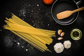 stock photo of raw materials  - Raw material and ingredient for Italian pasta recipe - JPG
