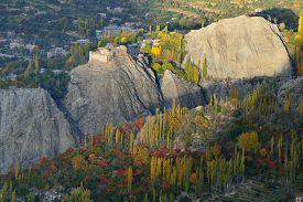 stock photo of karakoram  - Beautiful Landscape of Hunza Valley and Ancient Fortress in Autumn season - JPG