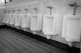 image of urinate  - row white urinals in men - JPG