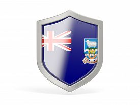 picture of falklands  - Shield icon with flag of falkland islands isolated on white - JPG