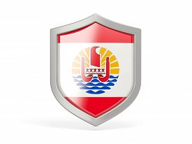 pic of french polynesia  - Shield icon with flag of french polynesia isolated on white - JPG