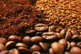 stock photo of coffee grounds  - Coffee ground coffee in granules coffee in a grain - JPG