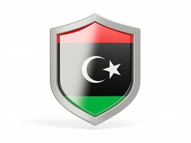 image of libya  - Shield icon with flag of libya isolated on white - JPG