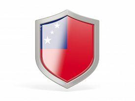 stock photo of samoa  - Shield icon with flag of samoa isolated on white - JPG